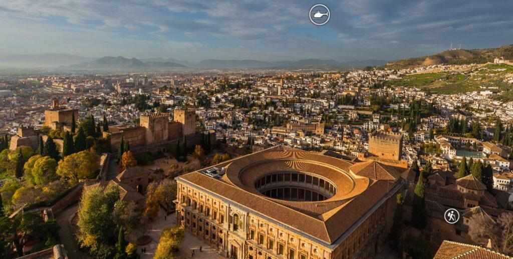 Aerial view of the Alhambra and Granada