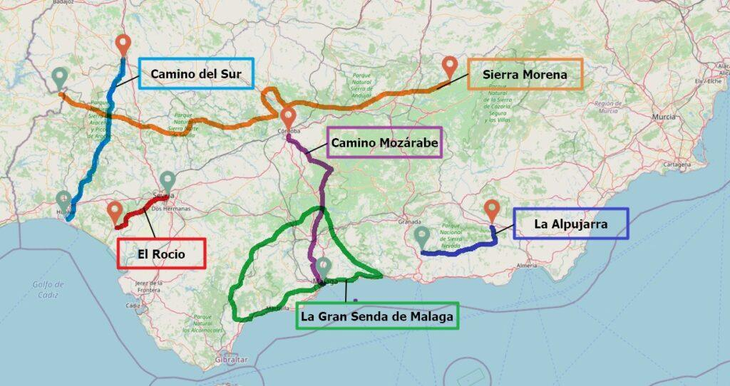 Map of the best hiking routes in Andalucia
